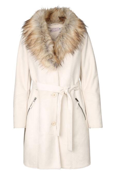 Lange mantel met kraag in imitatiebont - Wit
