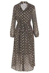 Lange jurk met bloemenprint en goudkleurige foliedruk