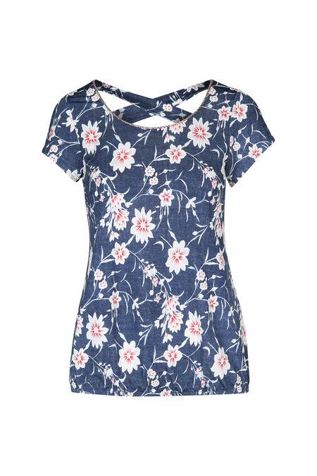 T-shirt met gomprint van bloemen - Denim