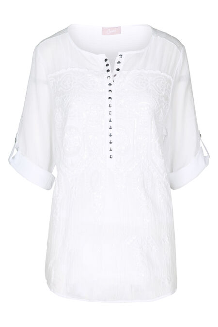 Blouse broderies et sequins - Blanc