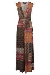 Lange jurk met etnische patchprint