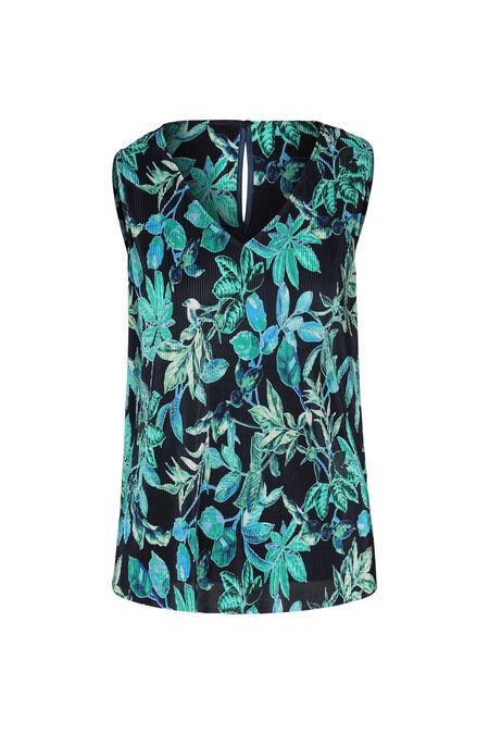 Blouse plissée imprimé feuilles - Turquoise