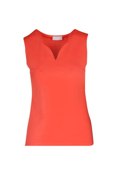 T-shirt sans manches en crèpe uni - Corail