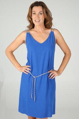 Jurk met gevlochten schouderbandjes, Koningsblauw