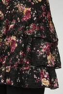 Robe fleurie avec volants, Noir