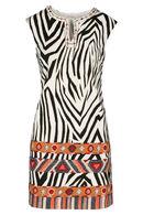 Robe imprimé zèbre et ethnique By Derhy, Ecru