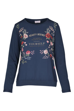 T-shirt met bloemenprint en tekst, Marineblauw