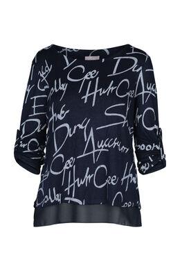 T-shirt bedrukt met woorden, Marineblauw