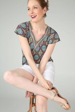 T-shirt imprimé Wax et perles, Ocre
