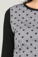 T-shirt imprimé à carreaux et à pois, Noir