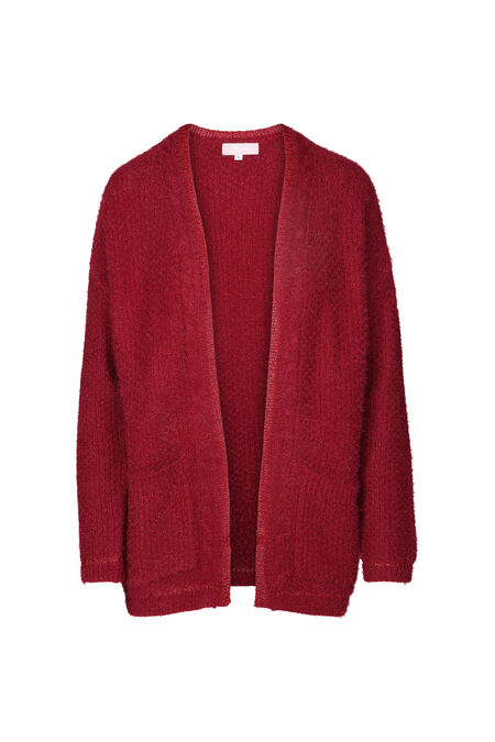 Losse cardigan in lurextricot - Rood