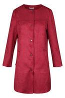 Manteau droit boutonné effet suédine, Framboise