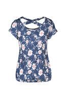 T-shirt met gomprint van bloemen, Denim