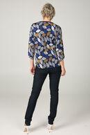 Shirt in koel tricot met een bladprint, Marineblauw