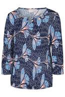 T-shirt imprimé fleurs col bijoux, Corail