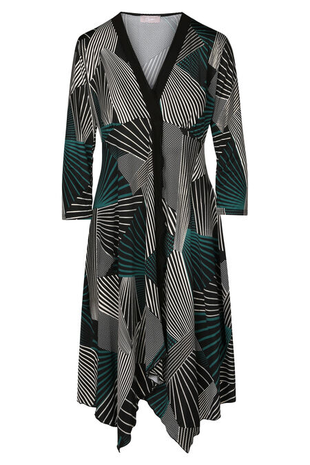 Robe foulard imprimé lignes - Vert bouteille