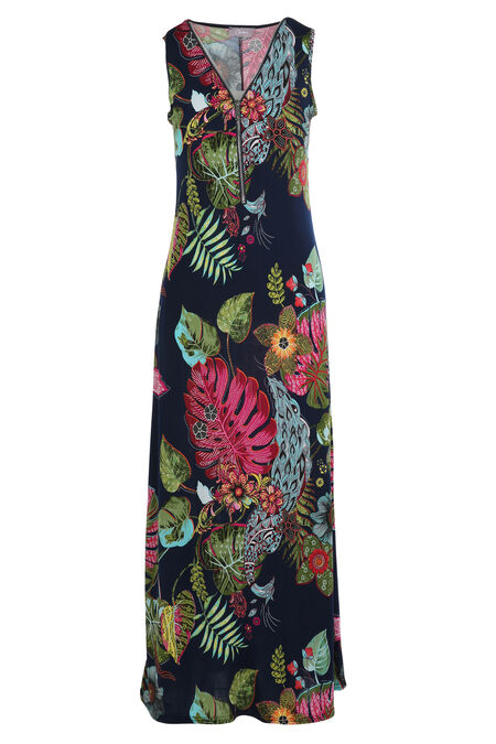 Robe longue imprimé exotique - multicolor