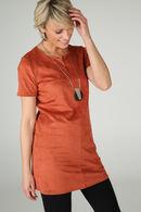 Tuniek met suèdine-look, Oranje