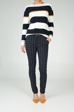 Broek in geruit tricot, Marineblauw