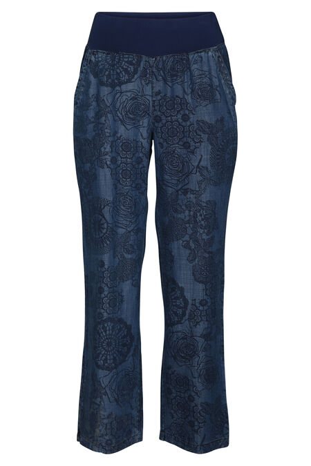 Broek in lyocell met mandalaprint - Denim