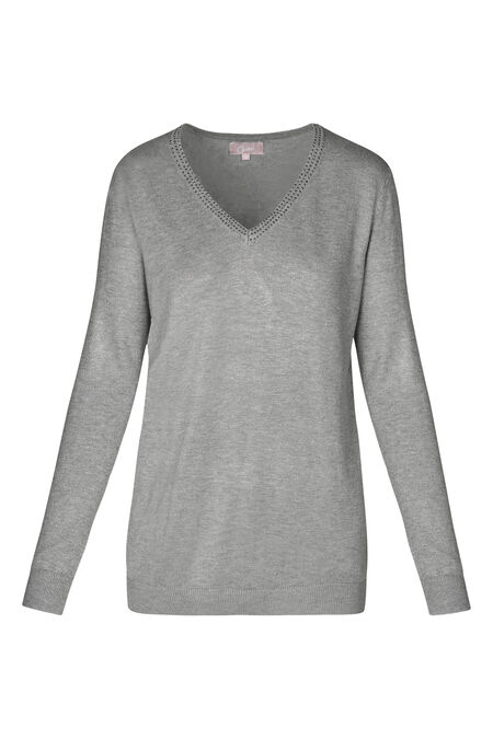 Pull encolure V en strass - Gris