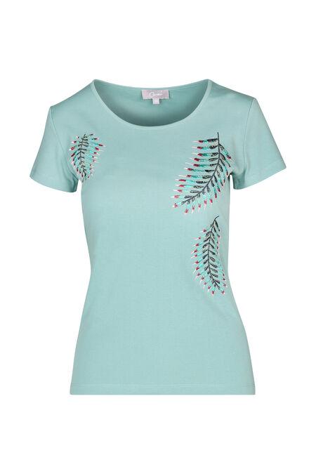 Katoenen T-shirt met geborduurde bladeren - Appelblauwzeegroen