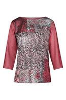 T-shirt imprimé patch peau de bête, Vieux rose