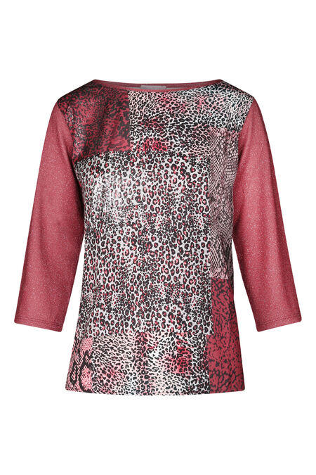 T-shirt imprimé patch peau de bête - Vieux rose