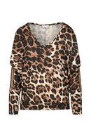 T-shirt met luipaardprint, Bruin