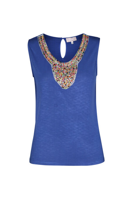 T-shirt plastron de perles - Bleu royal