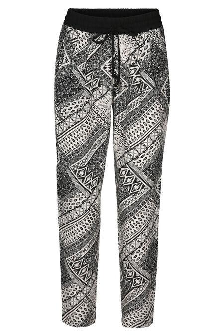 Pantalon fluide imprimé Wax - Noir