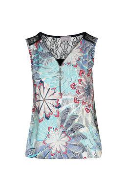T-shirt avec zip et dentelles, Turquoise