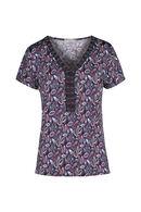 T-shirt met V-hals en geborduurd frontje, Aubergine