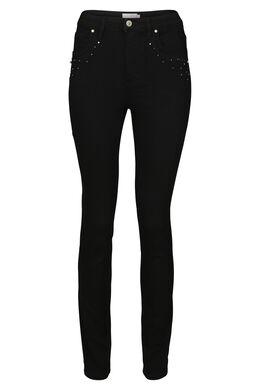 Smalle jeans met strassteentjes en kraaltjes, Zwart