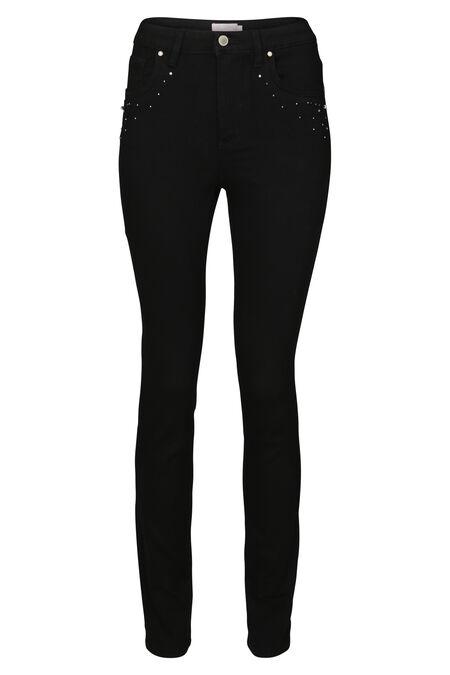 Smalle jeans met strassteentjes en kraaltjes - Zwart