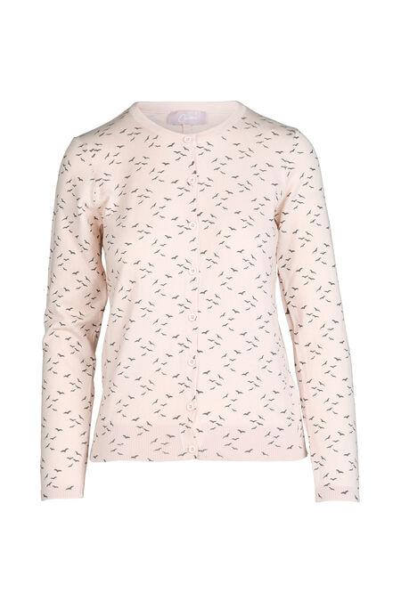 Cardigan in tricot met vogelprint - Roze