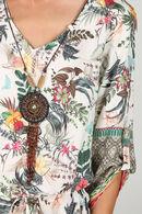 Jurk met tropische en etnische print met halssnoer, Kaki