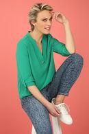 Effen blouse met V-hals, Grasgroen