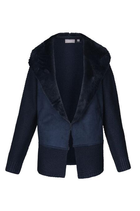 Blousoncardigan in tricot en suèdine - Marineblauw