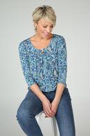 T-shirt imprimé fleuri effet gomme, Turquoise