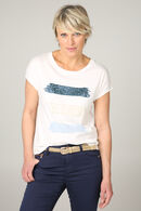 Shirt bedrukt met 3 stroken met lovertjes en kralen., Blauw