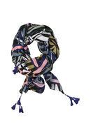 Foulard imprimé graphique et pompons, multicolor