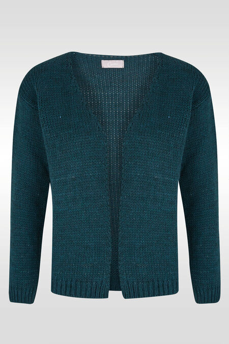 Losse cardigan, lurextricot - Emerald groen