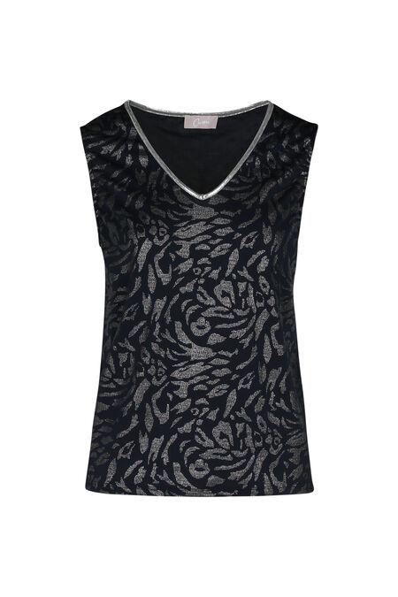 T-shirt met dierenhuidprint en zilverkleurig accent - Marineblauw