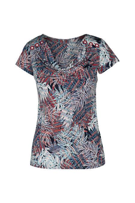 T-shirt col bénitier imprimé feuilles - Framboise