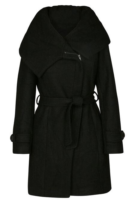 Manteau long en laine - Noir