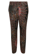 Pantalon large imprimé plumes, multicolor