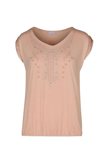 T-shirt dessins ethniques en strass - Vieux rose