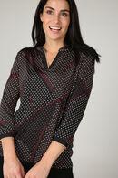 T-shirt maille froide imprimé pois et lignes géométriques, Prune