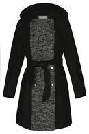 Manteau long bi-matière, Noir